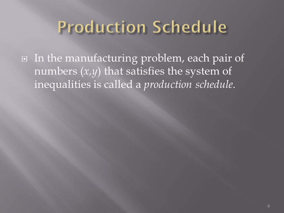 In the manufacturing problem, each pair of numbers ( x,y ) that satisfies the system of inequalities is called a production schedule.