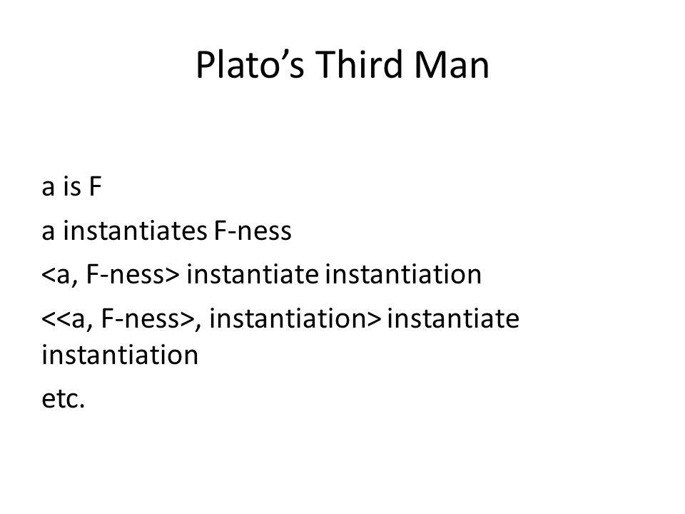 Platos Third Man a is F a instantiates F-ness instantiate instantiation, instantiation> instantiate instantiation etc.