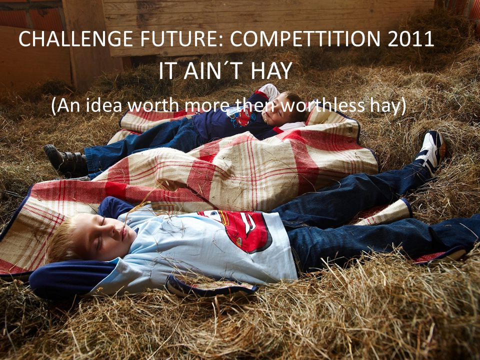 CHALLENGE FUTURE: COMPETTITION 2011 IT AIN´T HAY (An idea worth more then worthless hay)