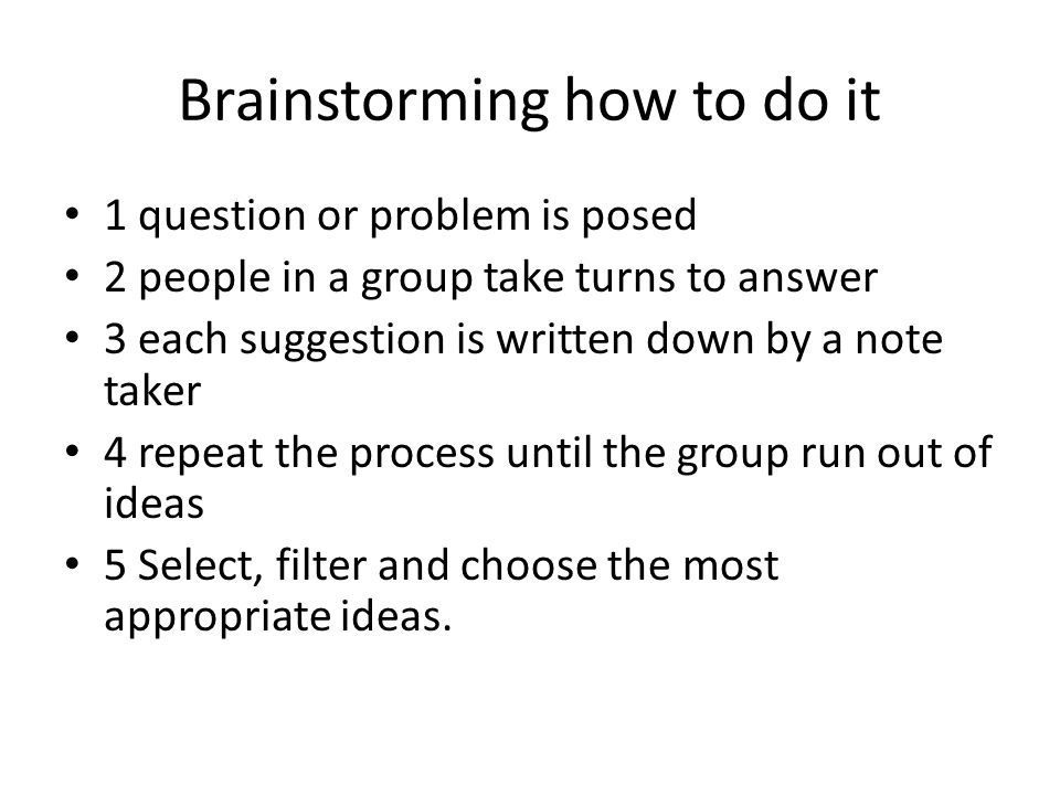 Caution When Osborne developed brainstorming he envisaged it as a 2 day process, not the short process we typically follow.