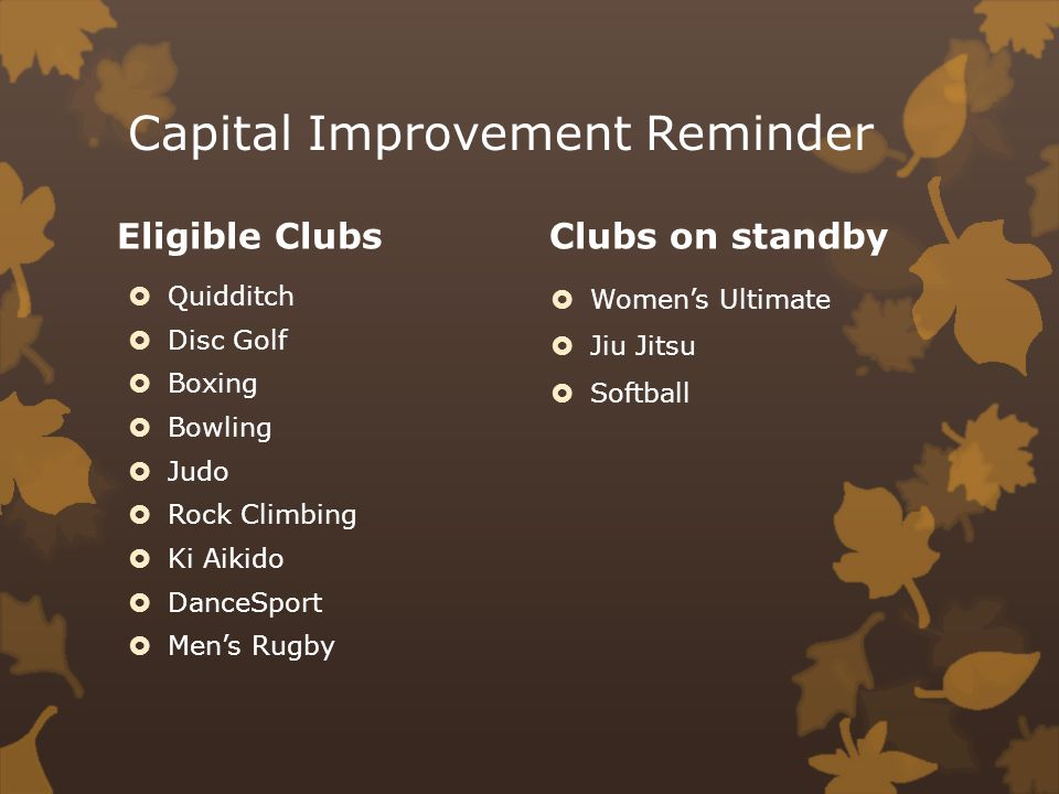 Capital Improvement Reminder Eligible Clubs Quidditch Disc Golf Boxing Bowling Judo Rock Climbing Ki Aikido DanceSport Mens Rugby Clubs on standby Womens Ultimate Jiu Jitsu Softball