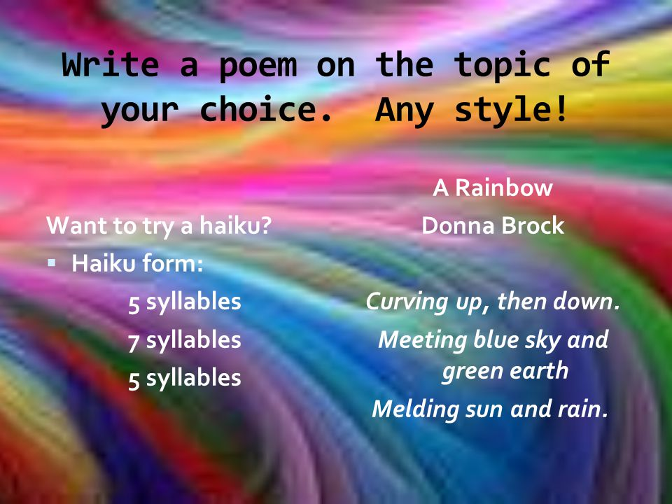Creative Poetry Writing