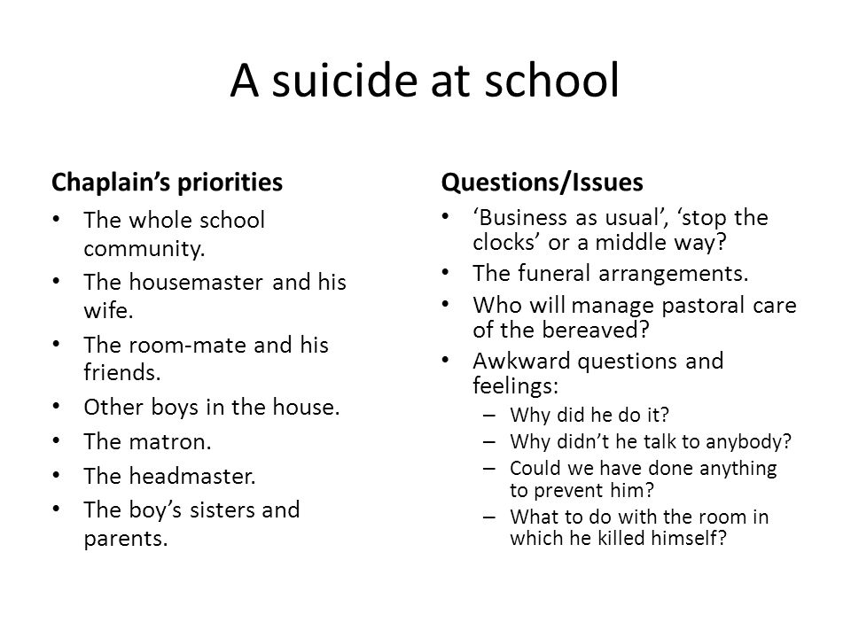 A suicide at school Chaplains prioritiesQuestions/Issues The whole school community.