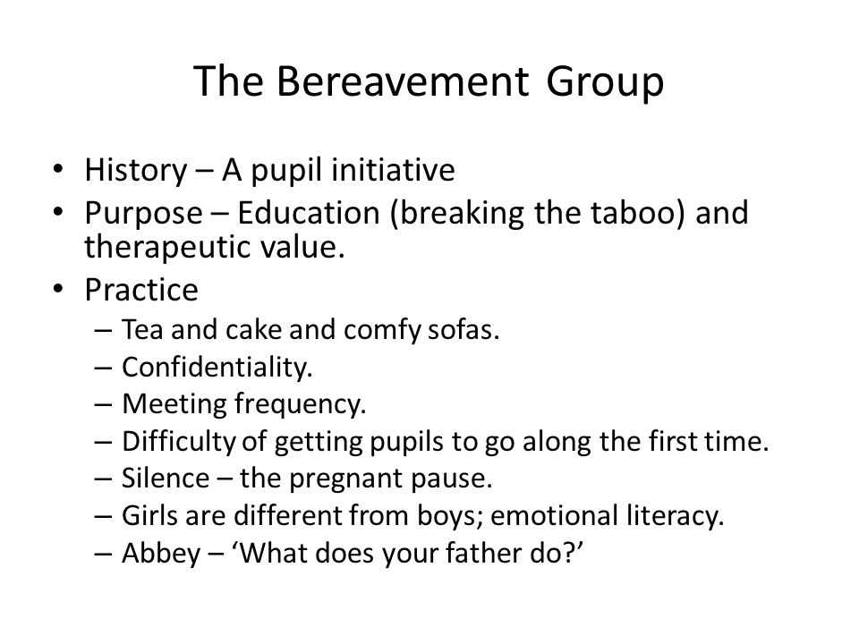 The Bereavement Group History – A pupil initiative Purpose – Education (breaking the taboo) and therapeutic value. Practice – Tea and cake and comfy s