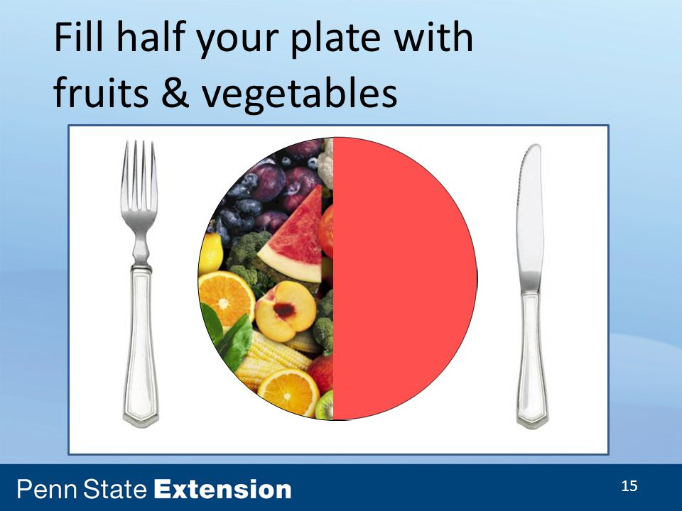 15 Fill half your plate with fruits & vegetables