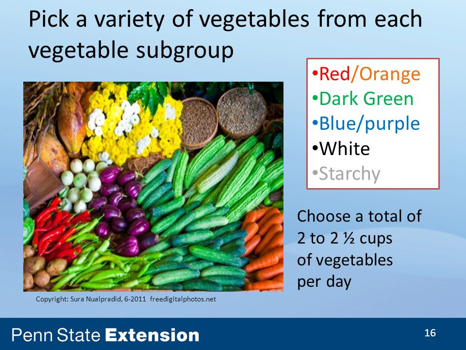 16 Pick a variety of vegetables from each vegetable subgroup Copyright: Sura Nualpradid, freedigitalphotos.net Red/Orange Dark Green Blue/purple White Starchy Choose a total of 2 to 2 ½ cups of vegetables per day