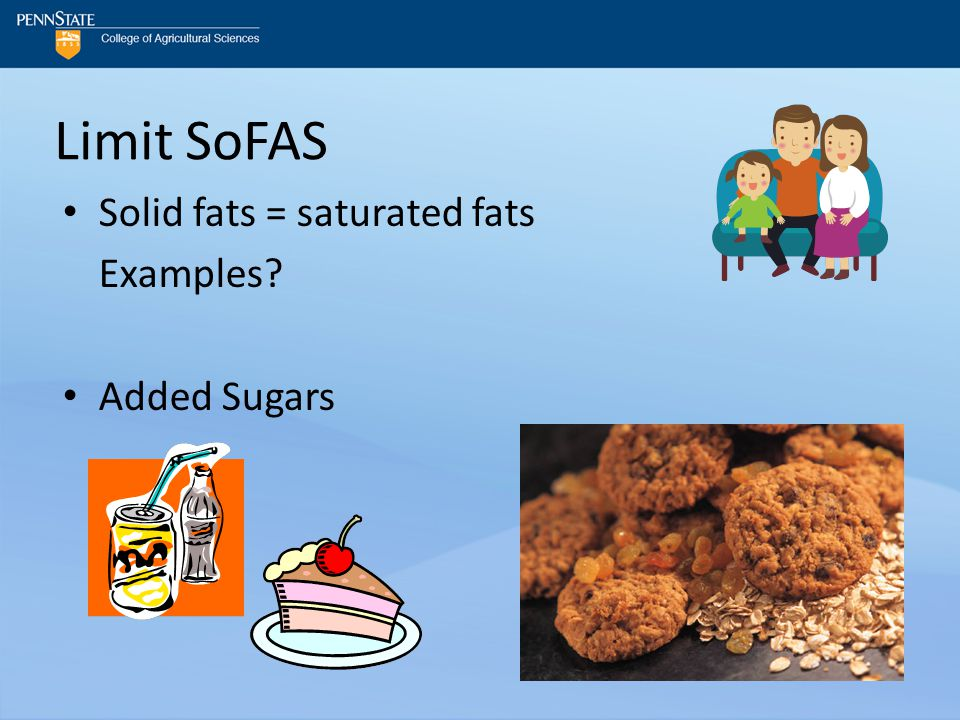 Limit SoFAS Solid fats = saturated fats Examples? Added Sugars