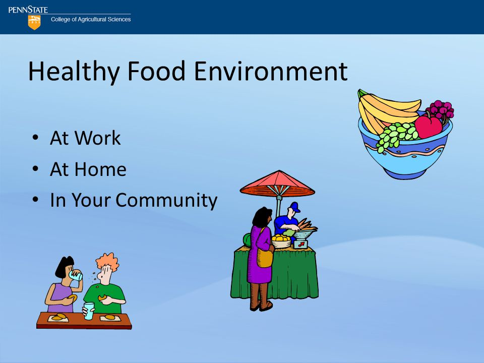 Healthy Food Environment At Work At Home In Your Community