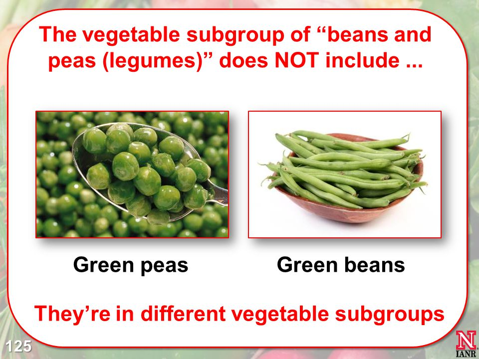 The vegetable subgroup of beans and peas (legumes) does NOT include...