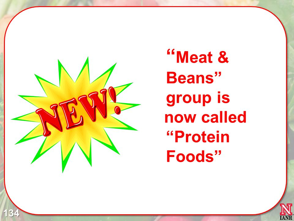 Meat & Beans group is now called Protein Foods 134