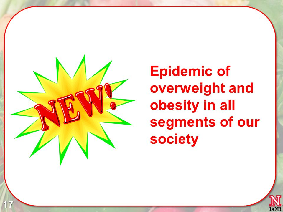 Epidemic of overweight and obesity in all segments of our society 17