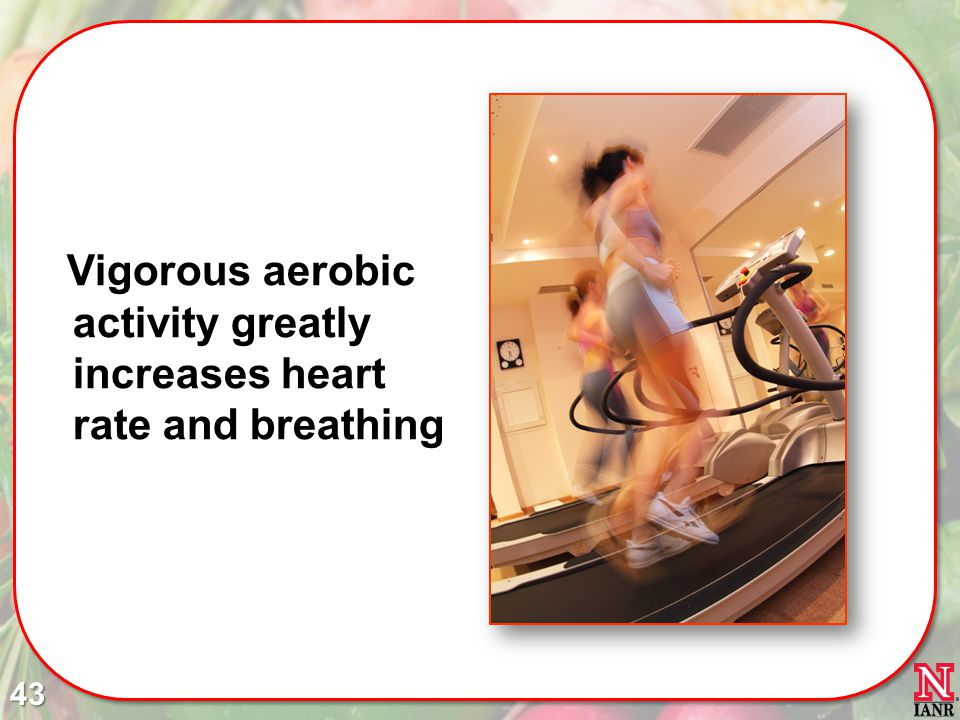 Vigorous aerobic activity greatly increases heart rate and breathing 43