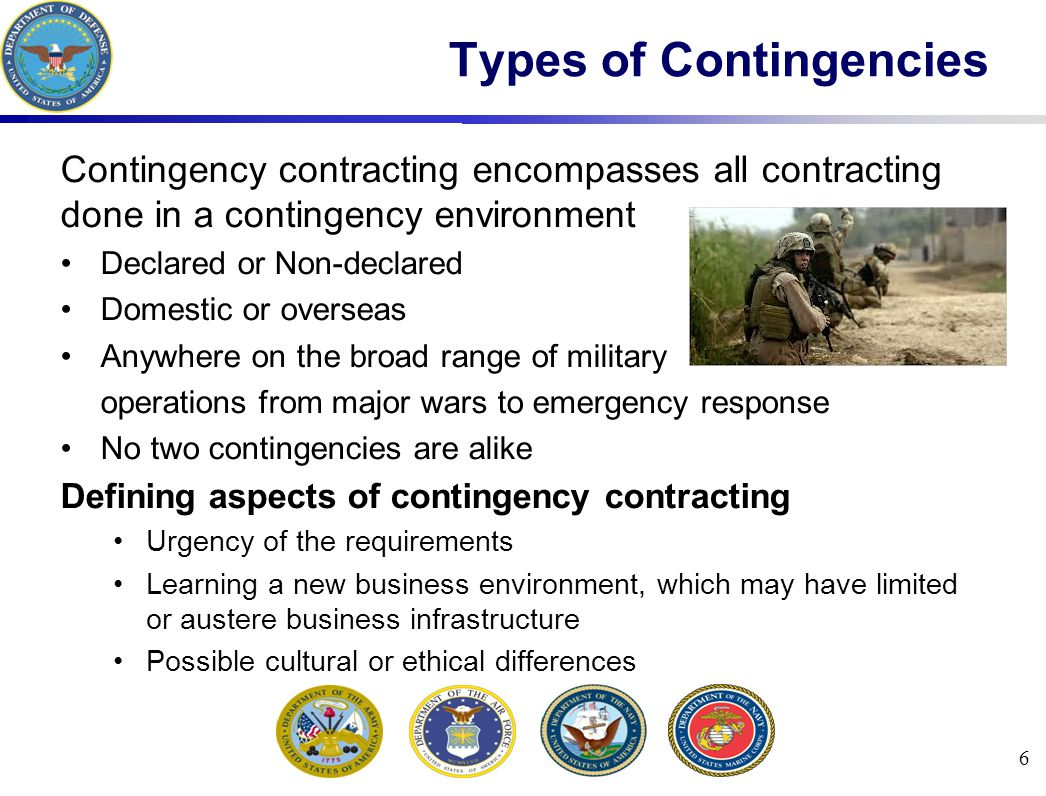 27 Contingency Contracting Support Phases Phases of contracting support during contingencies: Phase I: Mobilization and Initial Deployment Phase II: Buildup Phase III: Sustainment Phase IV: Termination and Redeployment