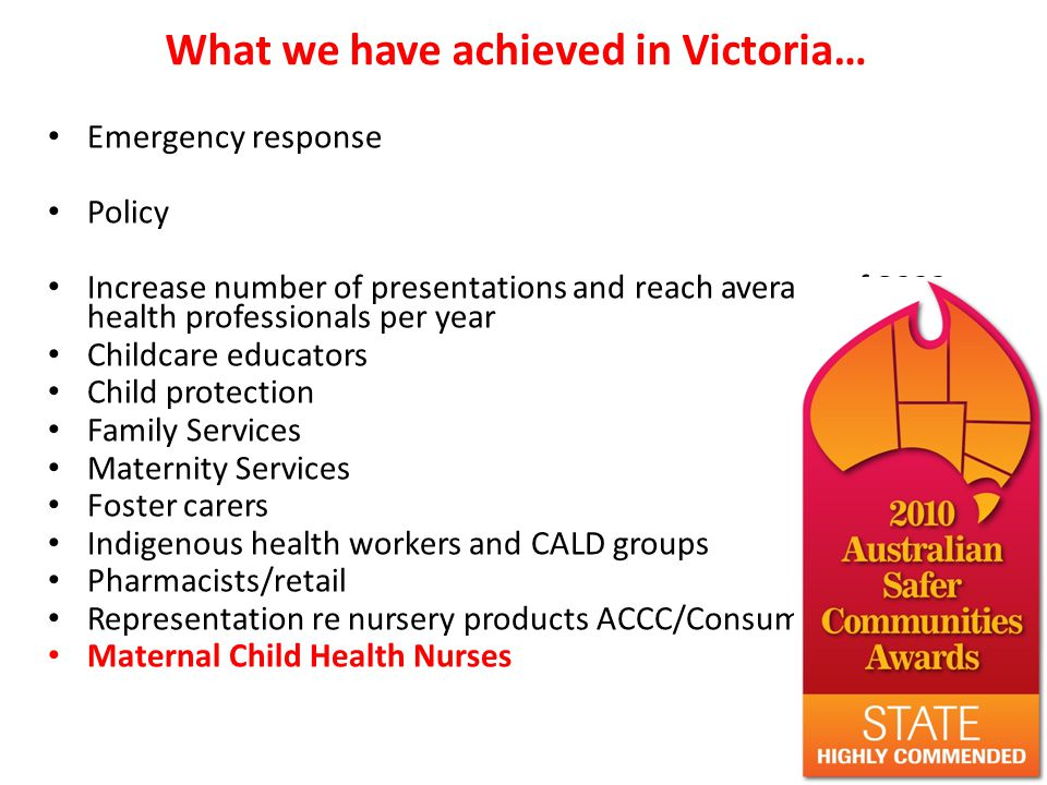 What we have achieved in Victoria… Emergency response Policy Increase number of presentations and reach average of 3000 health professionals per year Childcare educators Child protection Family Services Maternity Services Foster carers Indigenous health workers and CALD groups Pharmacists/retail Representation re nursery products ACCC/Consumer Affairs Maternal Child Health Nurses