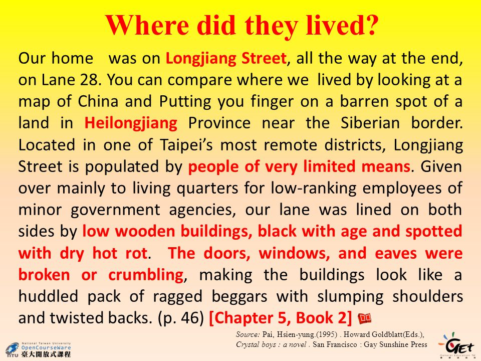 Where did they lived. Our home was on Longjiang Street, all the way at the end, on Lane 28.