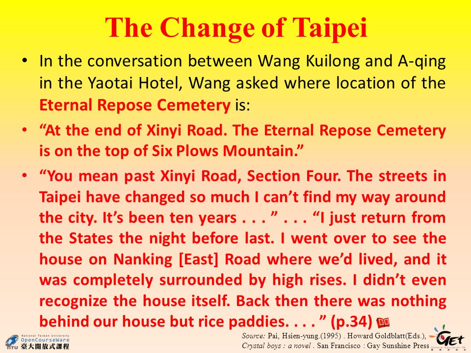 The Change of Taipei 30 In the conversation between Wang Kuilong and A-qing in the Yaotai Hotel, Wang asked where location of the Eternal Repose Cemetery is: At the end of Xinyi Road.