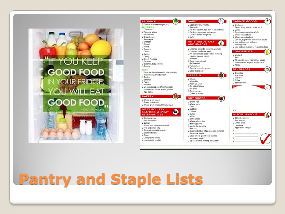 Pantry and Staple Lists