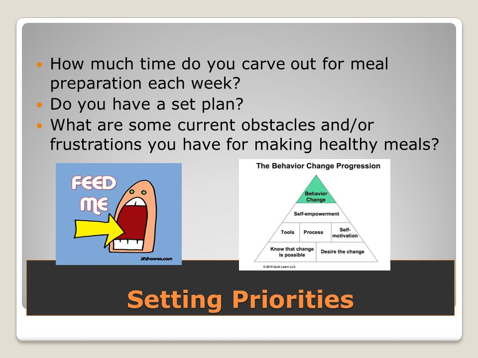 Setting Priorities How much time do you carve out for meal preparation each week.