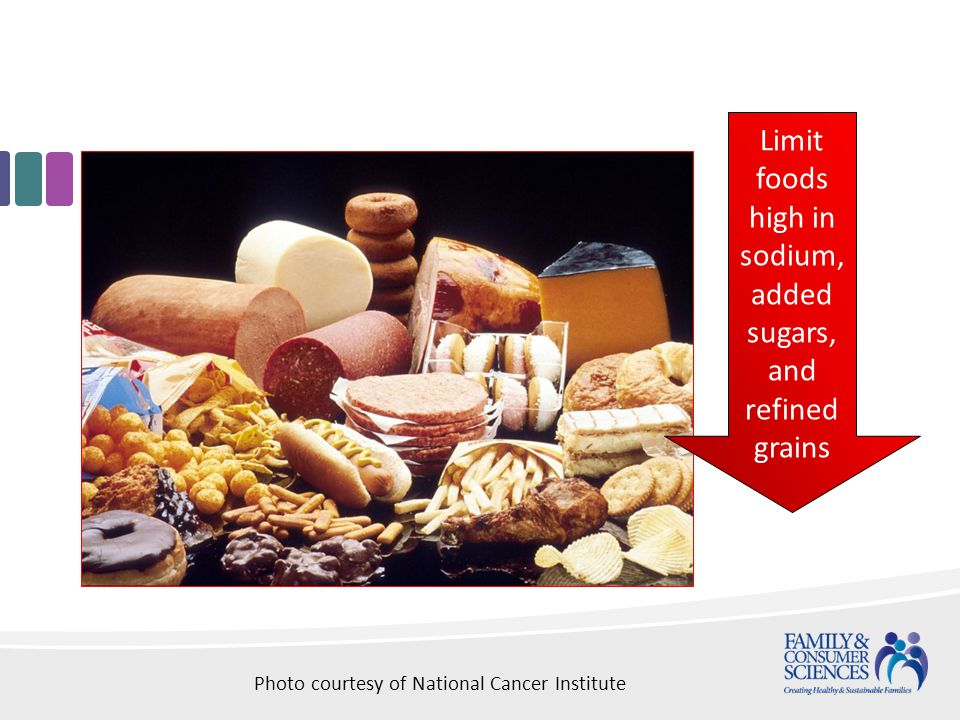 Limit foods high in sodium, added sugars, and refined grains Photo courtesy of National Cancer Institute
