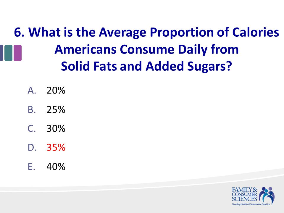 6. What is the Average Proportion of Calories Americans Consume Daily from Solid Fats and Added Sugars? A.20% B.25% C.30% D.35% E.40%