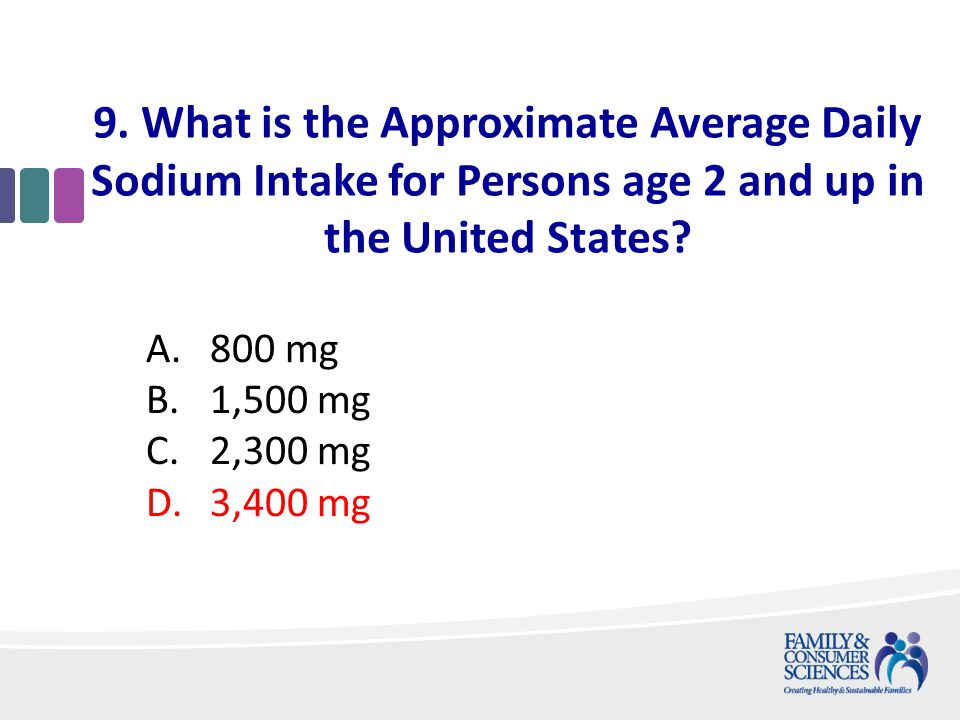 9. What is the Approximate Average Daily Sodium Intake for Persons age 2 and up in the United States? A.800 mg B.1,500 mg C.2,300 mg D.3,400 mg