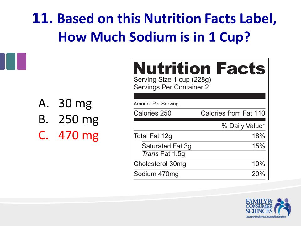 11. Based on this Nutrition Facts Label, How Much Sodium is in 1 Cup A.30 mg B.250 mg C.470 mg