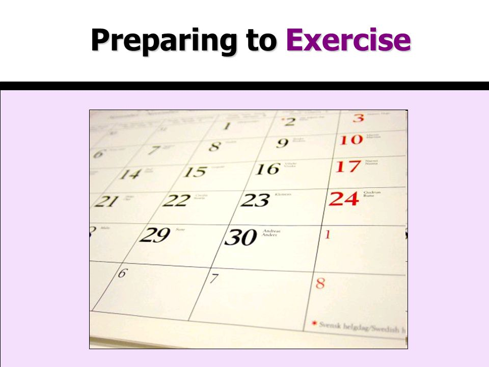 Preparing to Exercise