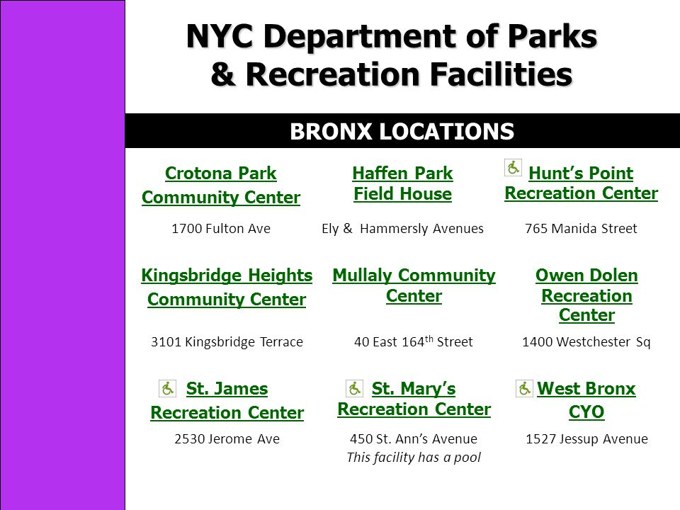 NYC Department of Parks & Recreation Facilities BRONX LOCATIONS Crotona Park Community Center Haffen Park Field House Hunts Point Recreation Center 1700 Fulton AveEly & Hammersly Avenues765 Manida Street Kingsbridge Heights Community Center Mullaly Community Center Owen Dolen Recreation Center 3101 Kingsbridge Terrace40 East 164 th Street1400 Westchester Sq St.