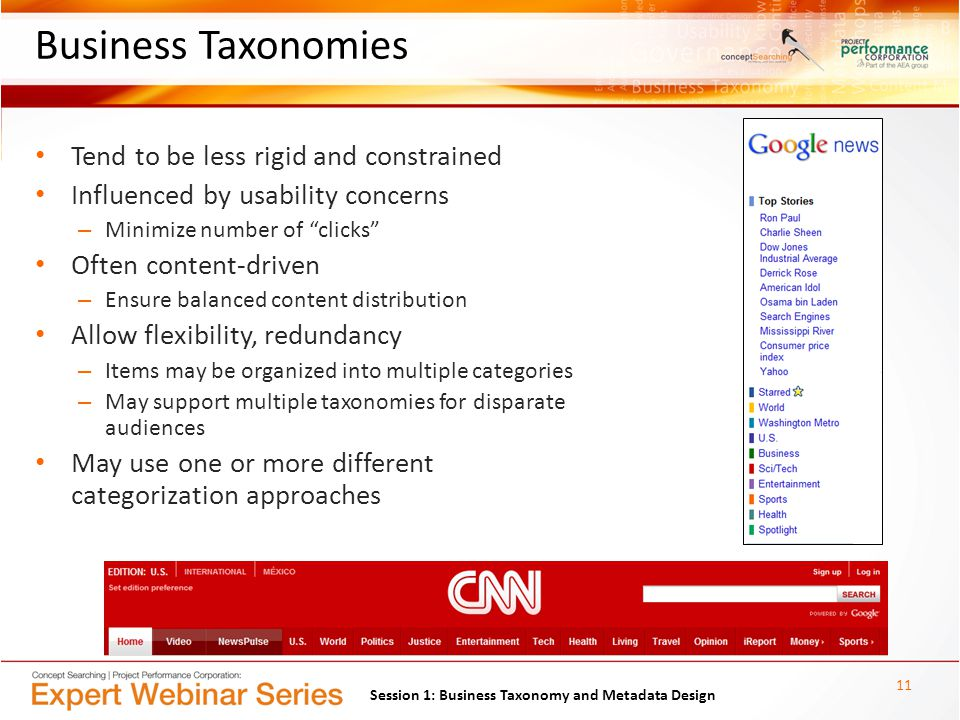 Business Taxonomies Tend to be less rigid and constrained Influenced by usability concerns – Minimize number of clicks Often content-driven – Ensure balanced content distribution Allow flexibility, redundancy – Items may be organized into multiple categories – May support multiple taxonomies for disparate audiences May use one or more different categorization approaches 11 Session 1: Business Taxonomy and Metadata Design