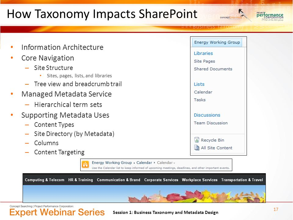 How Taxonomy Impacts SharePoint Information Architecture Core Navigation – Site Structure Sites, pages, lists, and libraries – Tree view and breadcrumb trail Managed Metadata Service – Hierarchical term sets Supporting Metadata Uses – Content Types – Site Directory (by Metadata) – Columns – Content Targeting 17 Session 1: Business Taxonomy and Metadata Design