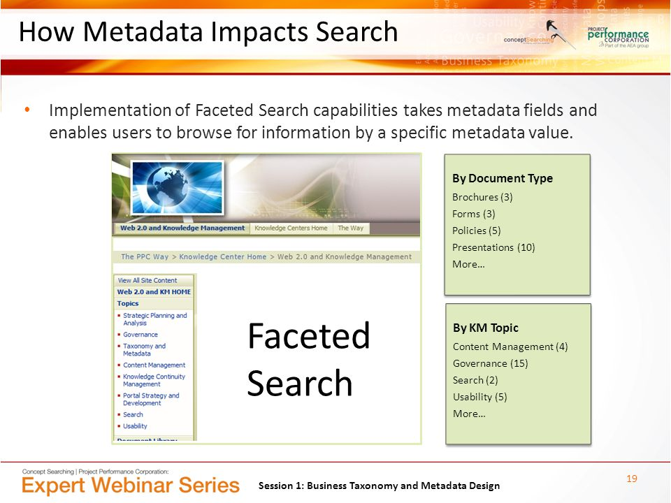 How Metadata Impacts Search Implementation of Faceted Search capabilities takes metadata fields and enables users to browse for information by a specific metadata value.