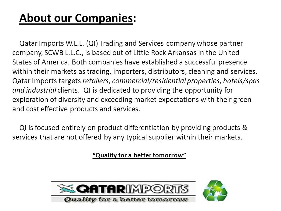 Our Quality Products and Services: Qatar Imports W.L.L.