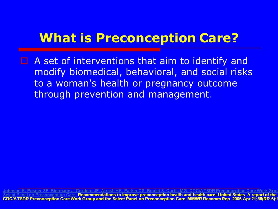 What is Preconception Care.