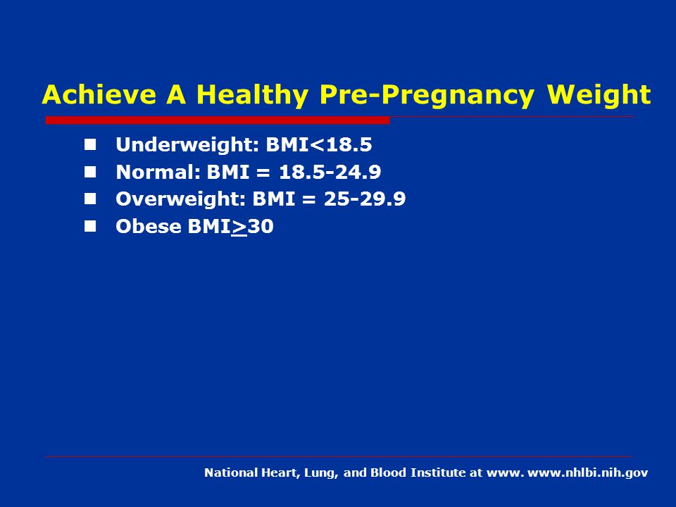 Achieve A Healthy Pre-Pregnancy Weight Underweight: BMI<18.5 Normal: BMI = Overweight: BMI = Obese BMI>30 National Heart, Lung, and Blood Institute at www.