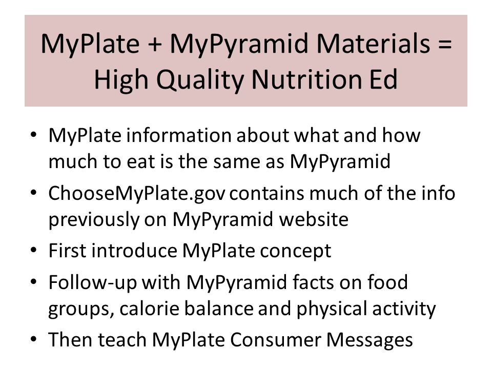 Teaching MyPlate to Students Gather Materials Get a FREE poster MyPlate for Kids http://www.fns.usda.gov/ TN/Resources/myplate_ halfplateposter.html Regular MyPlate wall poster http://www.choosemyplate.