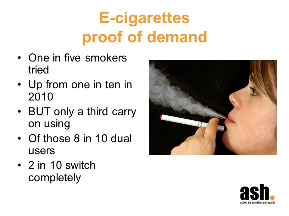 E-cigarettes proof of demand One in five smokers tried Up from one in ten in 2010 BUT only a third carry on using Of those 8 in 10 dual users 2 in 10 switch completely