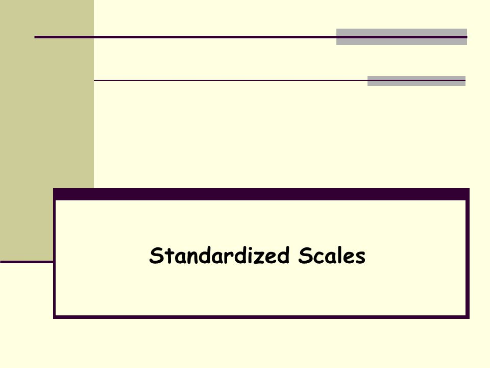 Standardization Use of identical procedures to collect, score, interpret, and report results of a measure Assures that differences over time or among different people are due to the variable being measured and not to different measurement procedures