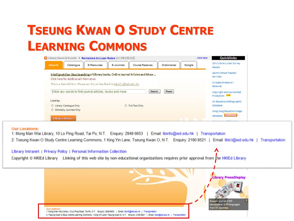 T SEUNG K WAN O S TUDY C ENTRE L EARNING C OMMONS