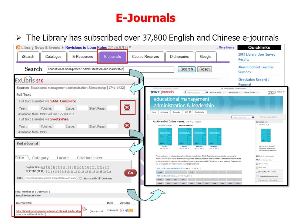 The Library has subscribed over 37,800 English and Chinese e-journals E-Journals
