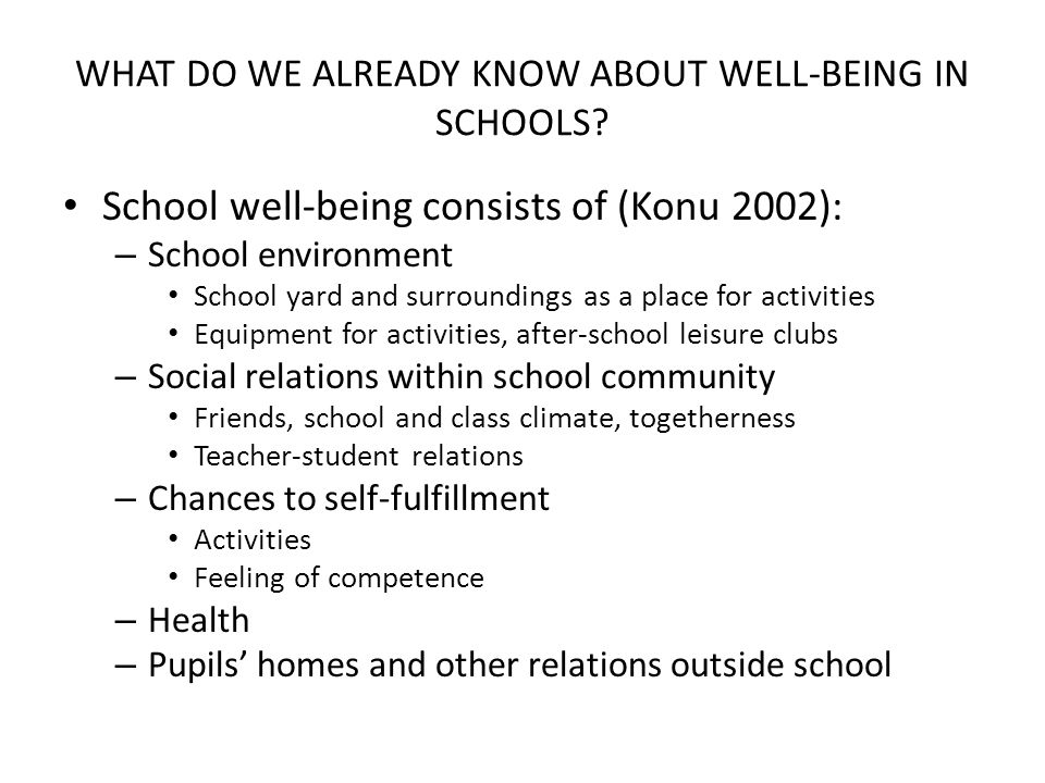 WHAT DO WE ALREADY KNOW ABOUT WELL-BEING IN SCHOOLS? School well-being consists of (Konu 2002): – School environment School yard and surroundings as a