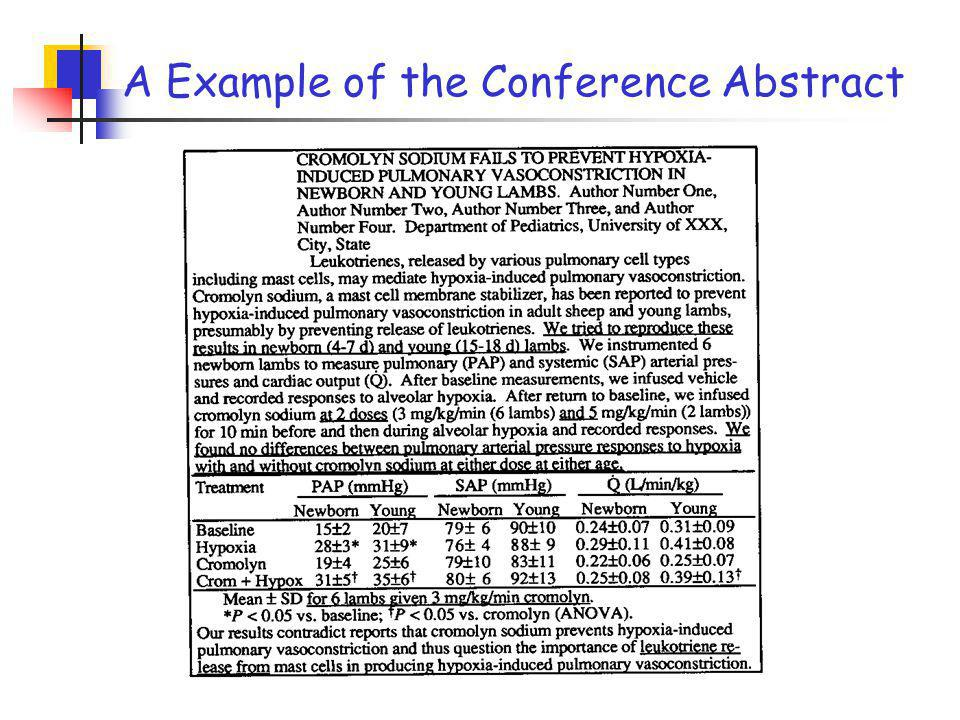 Abstracts for conferences (II) Several differences as below: => include more details for methods => display data in a table or a graph sometimes => include more implications (to indicate the importance of the work) Abstracts for conferences self-destruct after a year.