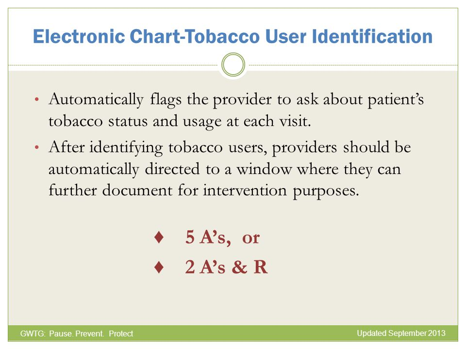 Automatically flags the provider to ask about patients tobacco status and usage at each visit. After identifying tobacco users, providers should be au