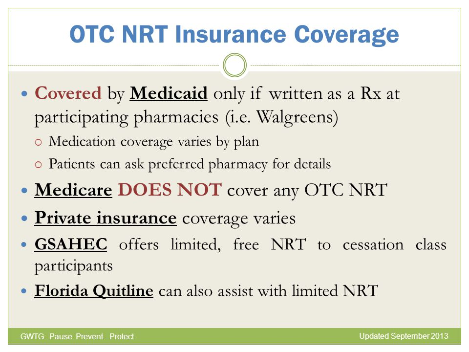 OTC NRT Insurance Coverage Covered by Medicaid only if written as a Rx at participating pharmacies (i.e. Walgreens) Medication coverage varies by plan