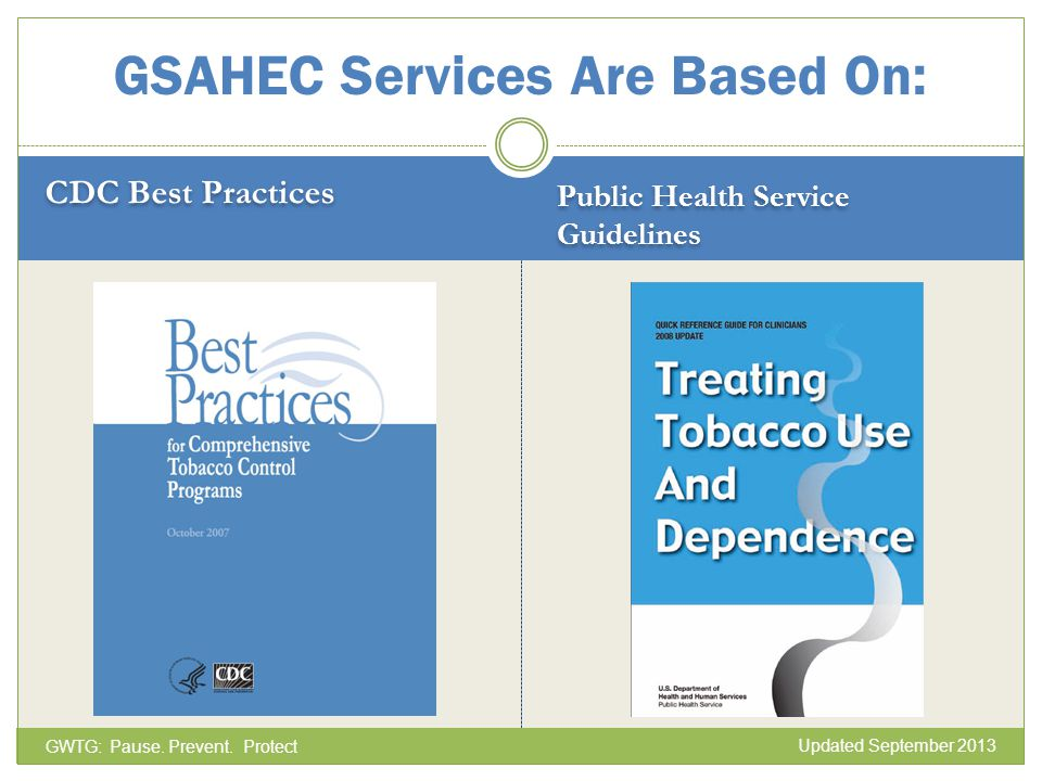 CDC Best Practices Public Health Service Guidelines GSAHEC Services Are Based On: GWTG: Pause. Prevent. Protect Updated September 2013