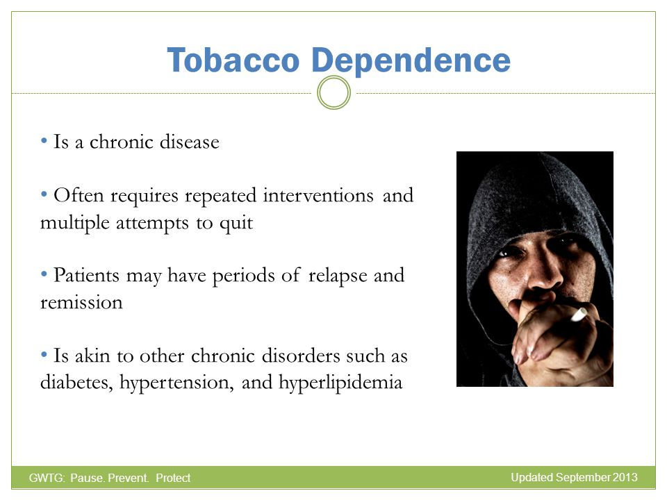Tobacco Dependence GWTG: Pause. Prevent. Protect Is a chronic disease Often requires repeated interventions and multiple attempts to quit Patients may