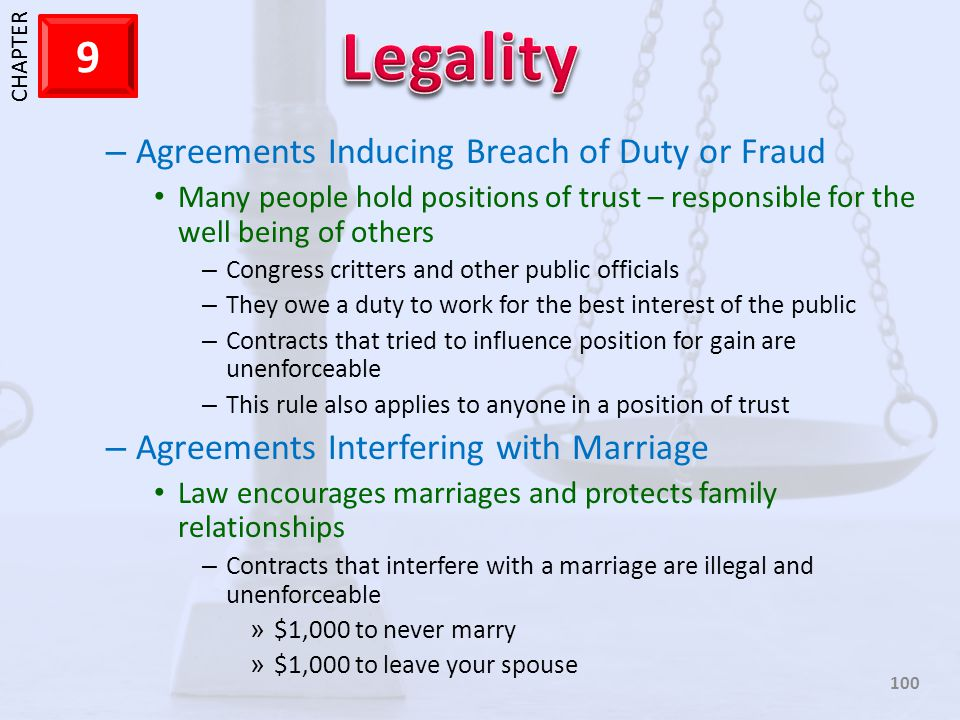 1 CHAPTER 9 100 – Agreements Inducing Breach of Duty or Fraud Many people hold positions of trust – responsible for the well being of others – Congres