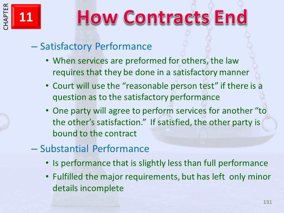 1 CHAPTER 11 131 – Satisfactory Performance When services are preformed for others, the law requires that they be done in a satisfactory manner Court