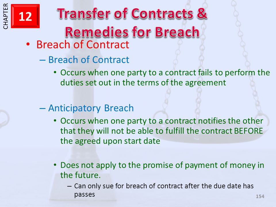 1 CHAPTER 12 154 Breach of Contract – Breach of Contract Occurs when one party to a contract fails to perform the duties set out in the terms of the a