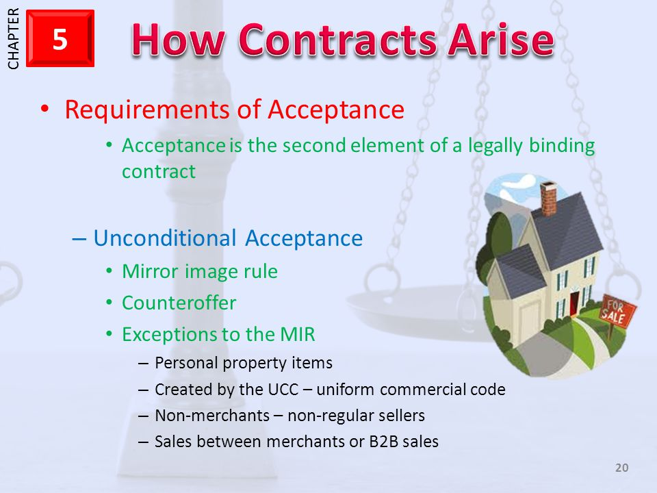 1 CHAPTER 5 20 Requirements of Acceptance Acceptance is the second element of a legally binding contract – Unconditional Acceptance Mirror image rule