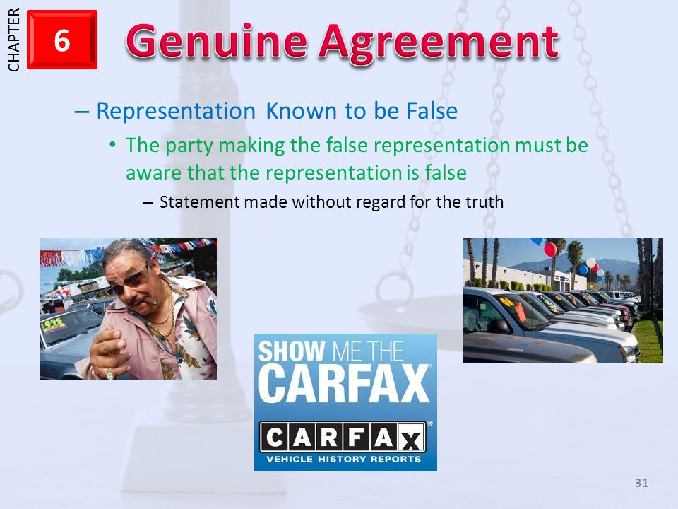 1 CHAPTER 6 31 – Representation Known to be False The party making the false representation must be aware that the representation is false – Statement